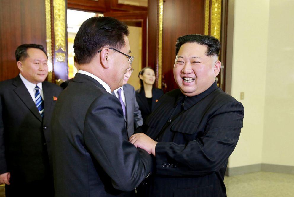 PHOTO: South Korean chief delegator Chung Eui-yong shakes hands with North Korean leader Kim Jong-Un, March 5, 2018 during their meeting in Pyongyang, North Korea.