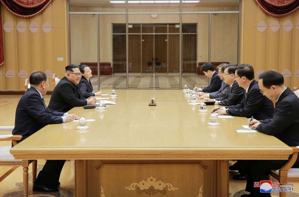 PHOTO: North Korean leader Kim Jong Un, second left, meets members of South Korean delegation headed by National Security Director Chung Eui-yong, in Pyongyang, North Korea, March 5, 2018.