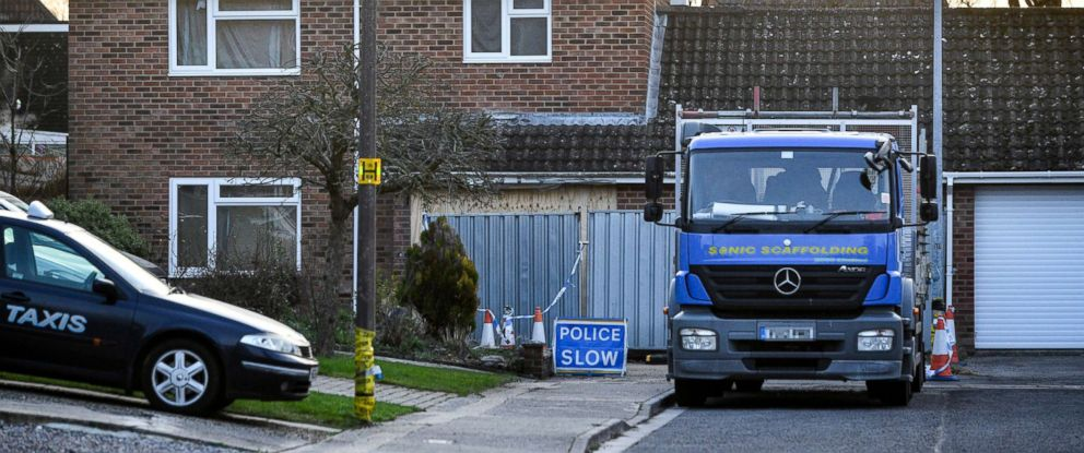 PHOTO: A truck carrying scaffolding is parked outside the home of former Russian spy Sergei Skripal in Salisbury, England, Jan. 8, 2019.