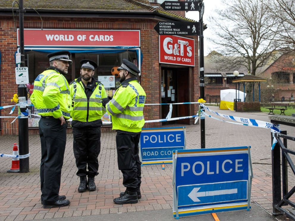 PHOTO: Police officers stand by the cordon as a forensics tent remains over a bench at the scene connected to the Sergei Skripal nerve agent attack as investigations continue into the poisoning of Sergei Skripal, March 13, 2018, in Salisbury, England.