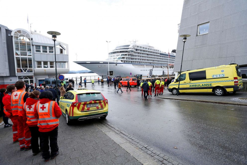 PHOTO: Viking Sky cruise ship arrives in Molde, Norway after engine problems, March 24,2019.