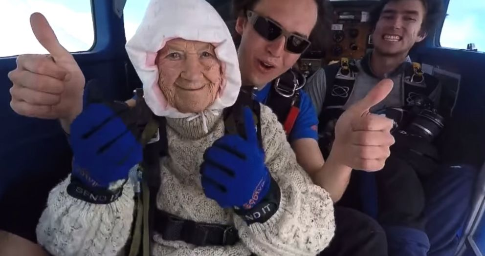 PHOTO: Irene OShea, 102, has been skydiving every year since her 100th birthday.
