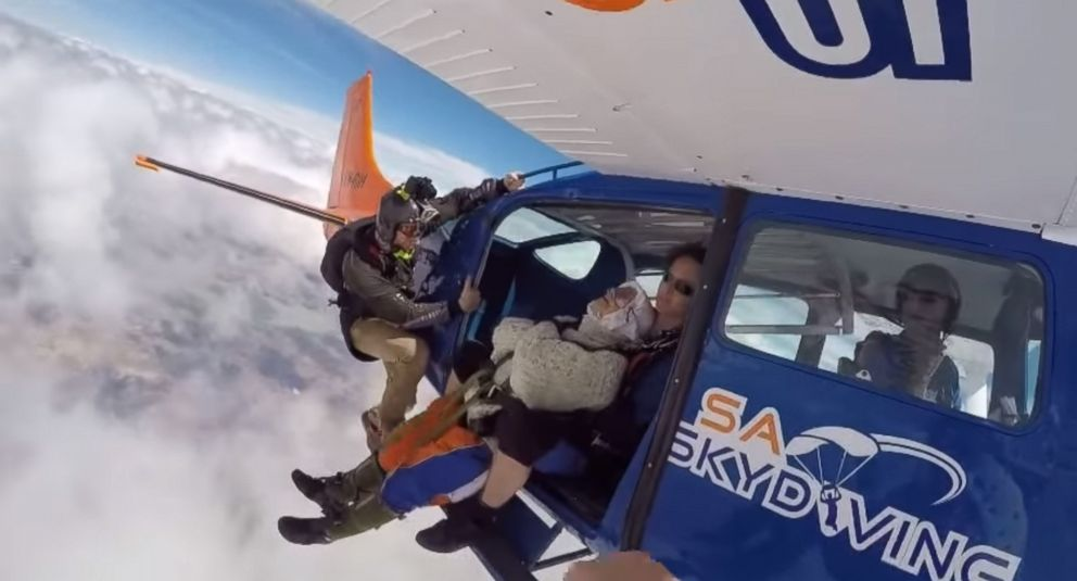 Irene O'Shea, 102, jumped to raise money for the Motor Neurone Disease Association of South Australia.