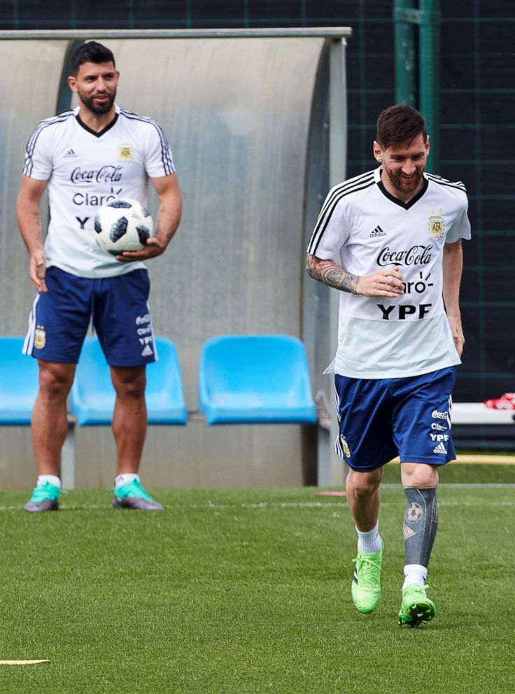 PHOTO: Argentinas Lionel Messi, right, and Sergio Kun Aguero attend a training session at Joan Gamper Sports City in Barcelona, June 6, 2018.