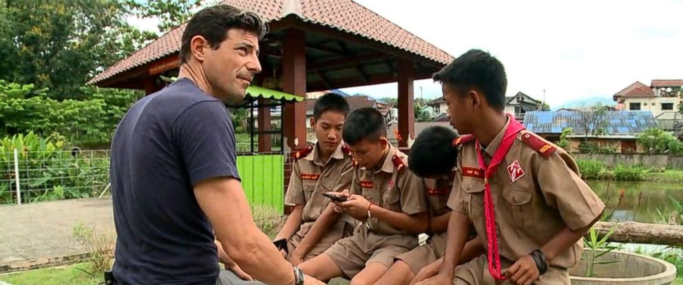 PHOTO: ABC News Matt Gutman speaks with the other members of the Wild Boars soccer team in Chiang Rai province, Thailand, July 6, 2018.