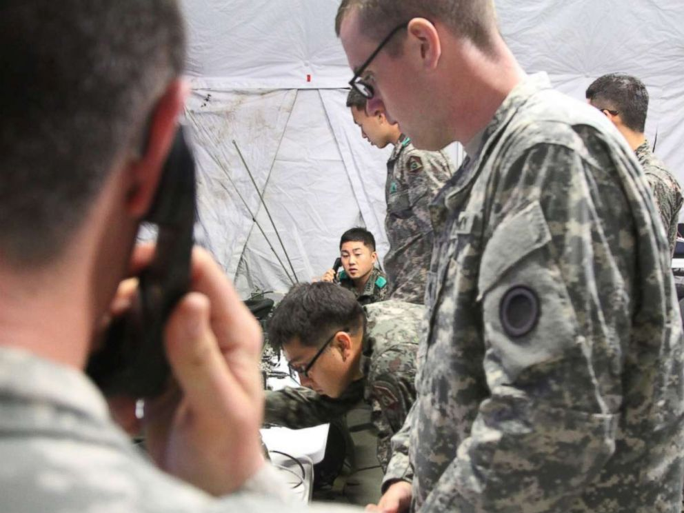 PHOTO: I Corps and Third Republic of Korea Soldiers complete a successful test of communicating over their Single Channel Ground and Airborne Radio Systems over encrypted channels during Ulchi Freedom Guardian at Yongin, South Korea, Aug. 20, 2015.