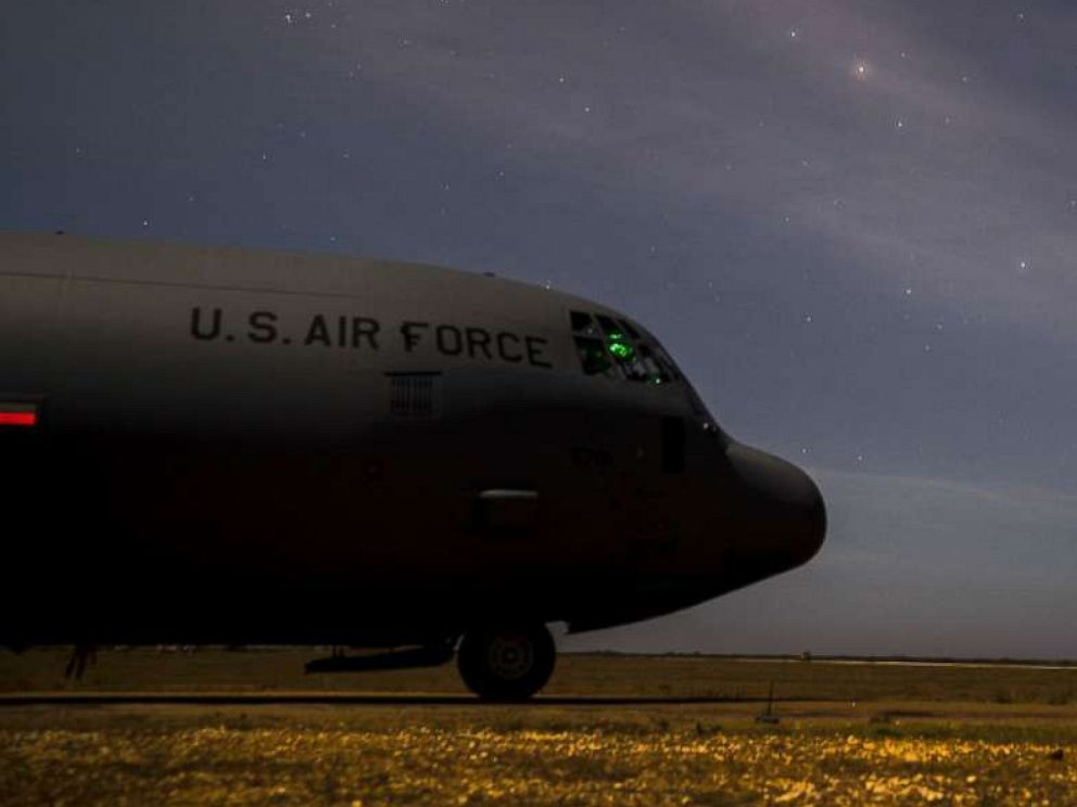 PHOTO: The front of a C-130J Super Hercules, assigned to the 75th Expeditionary Airlift Squadron (EAS), is parked as it delivers supplies to U.S. forces in Somalia, Sept. 12, 2019.