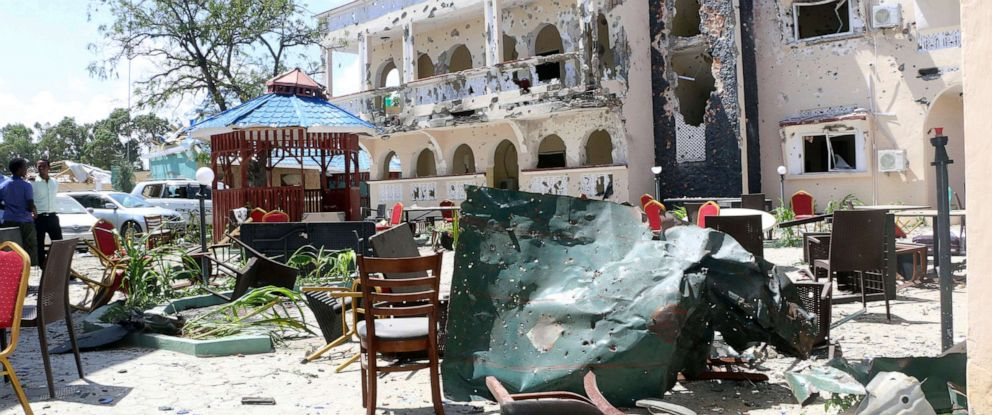 PHOTO: A view of Asasey Hotel after an attack, in Kismayo, Somalia, July 13, 2019.