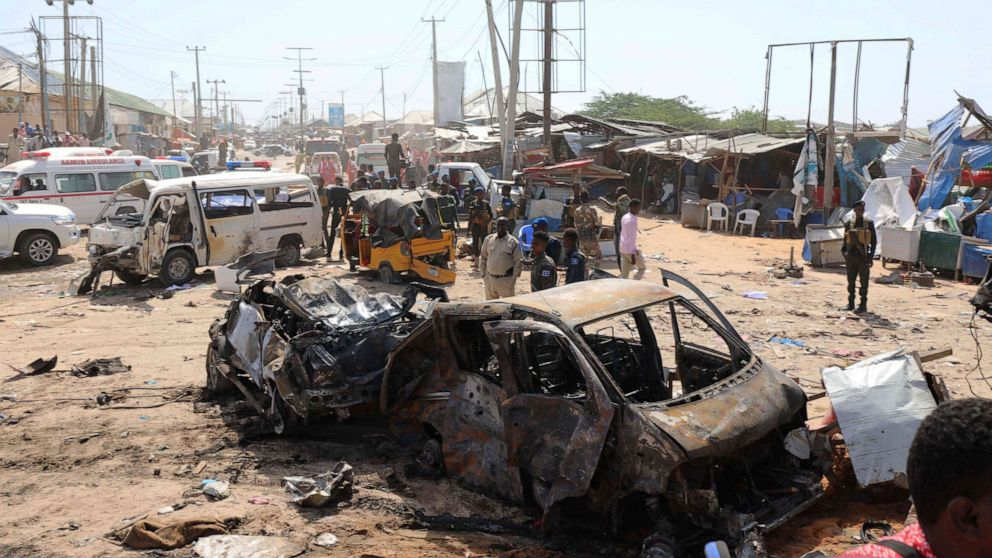 A general view shows the scene of a car bomb explosion at a checkpoint in Mogadishu, Somalia, Dec. 28, 2019.Feisal Omar/Reuters