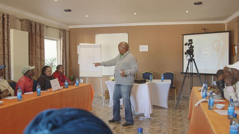 PHOTO: Patrick Godana leads a workshop at Sonke Gender Justice, attempting to transform the way men think about domestic abuse.