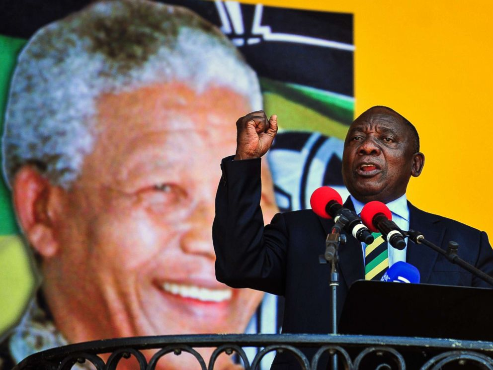 PHOTO: South African Deputy President and African National Congress party President Cyril Ramaphosa, delivers a speech at the Grand Parade in Cape Town, South Africa, Feb. 11, 2018.