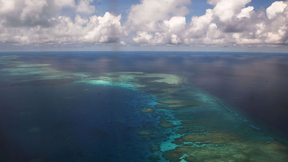 An aerial shot of part of Mischief Reef in the disputed Spratly islands, in the SOuth China sea, on April 21, 2017.