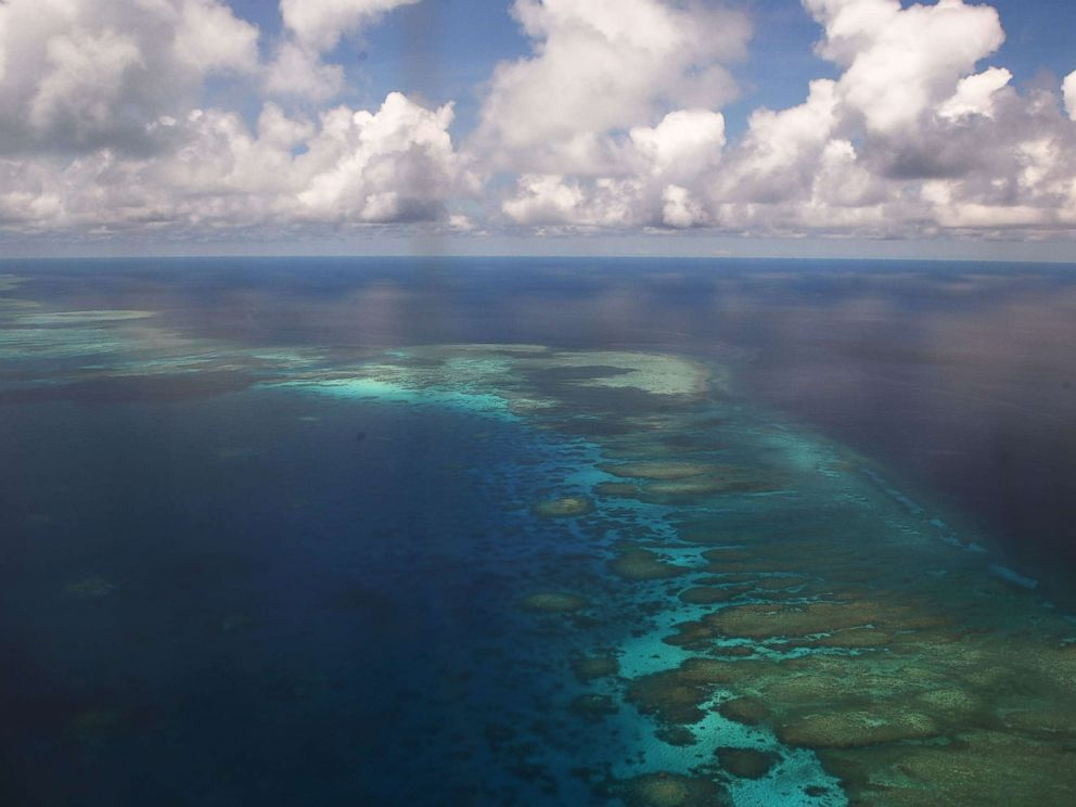 PHOTO: An aerial shot of part of Mischief Reef in the disputed Spratly islands, in the SOuth China sea, on April 21, 2017.