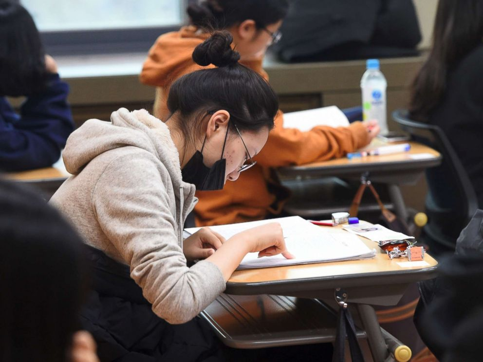 PHOTO: Students prepare to take the annual College Scholastic Ability Test, a standardized exam for college entrance, at a high school in Seoul on Nov. 23, 2017.