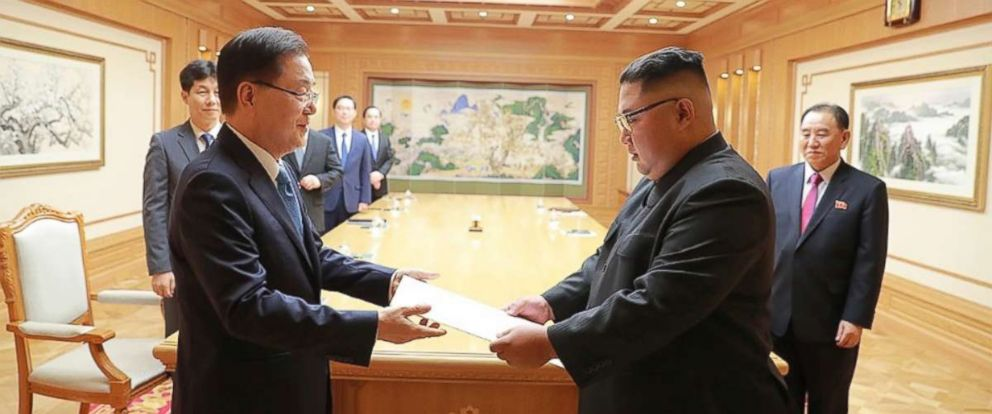 PHOTO: Chung Eui-yong, top national security adviser hand-delivered South Korean presidents letter to Kim Jong Un as a special envoy to Pyongyang, North Korea, Sept. 5, 2018.