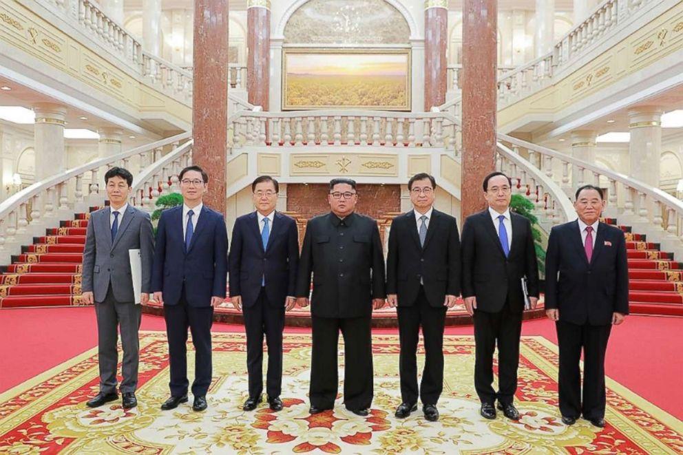 PHOTO: North Korean leader Kim Jong Un met with South Koreas special envoys in Pyongyang, North Korea, Sept, 5, 2018.