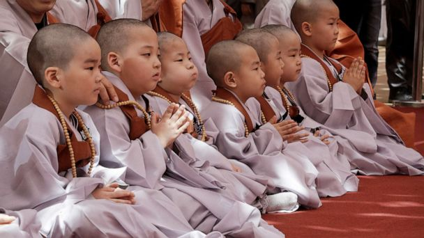 Young monks shave heads for Buddha's birthday