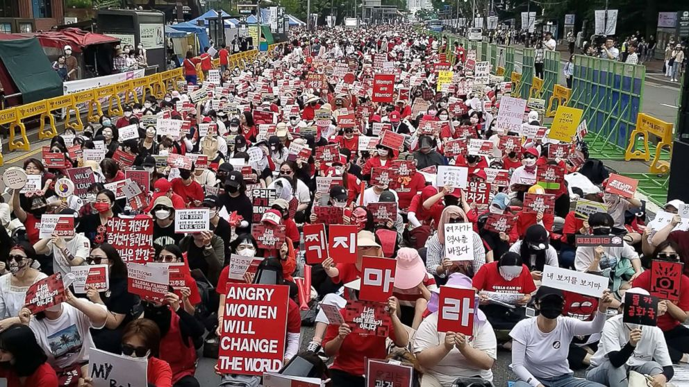 South Korean women hold a monthly protest against secretly-filmed spycam pornography in Seoul, South Korea, June 9, 2018.