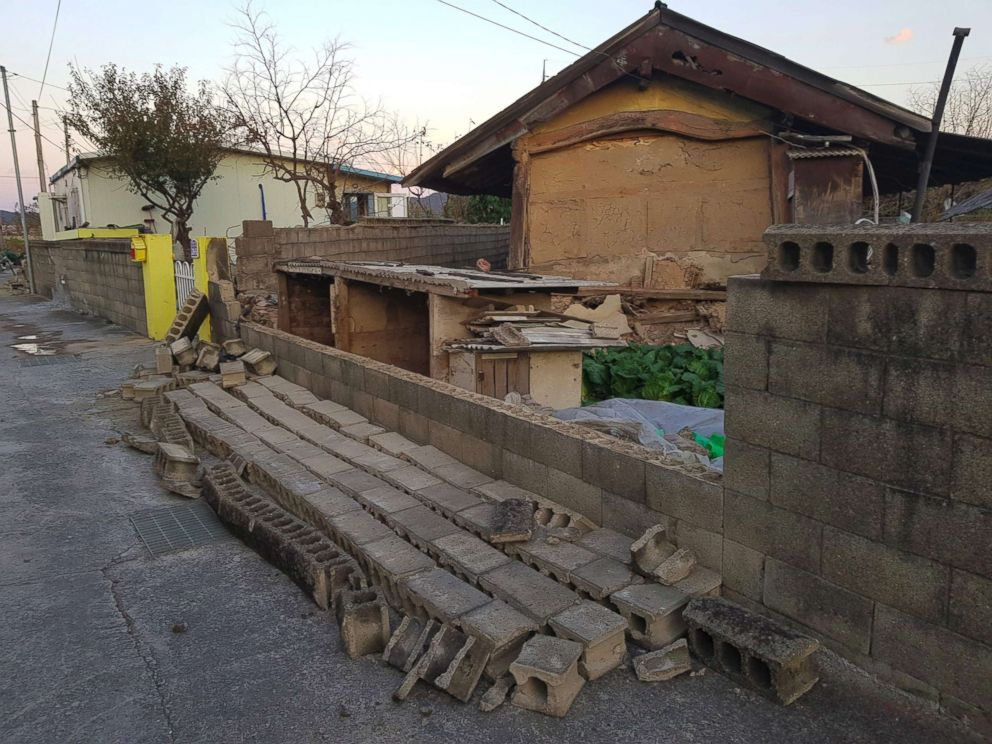 PHOTO: Damage to the wall of a house is seen after a 5.4-magnitude earthquake in the southeastern port city of Pohang, Nov. 15, 2017.