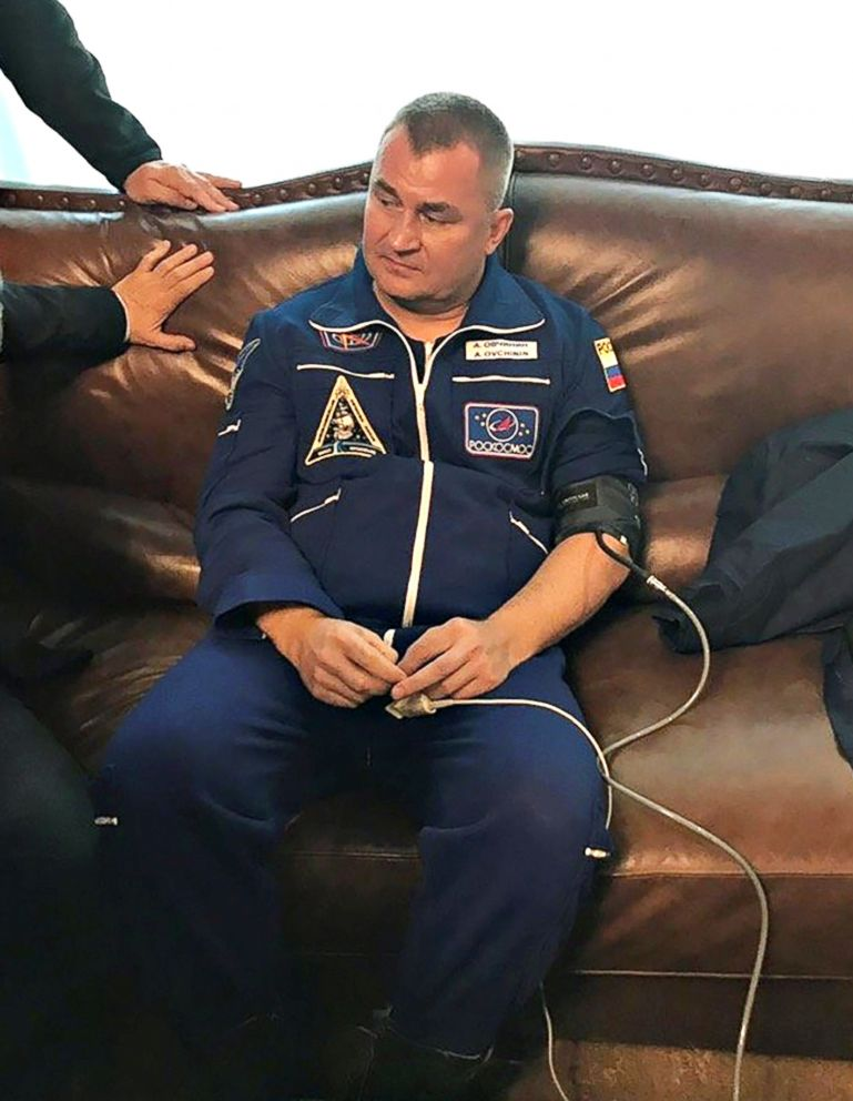 PHOTO: Russian cosmonaut Alexey Ovchinin undergoes medical tests after a Soyuz spacecraft made an emergency landing following a failure of its booster rockets, in Zhezkazgan, Kazakhstan on Oct. 11, 2018.