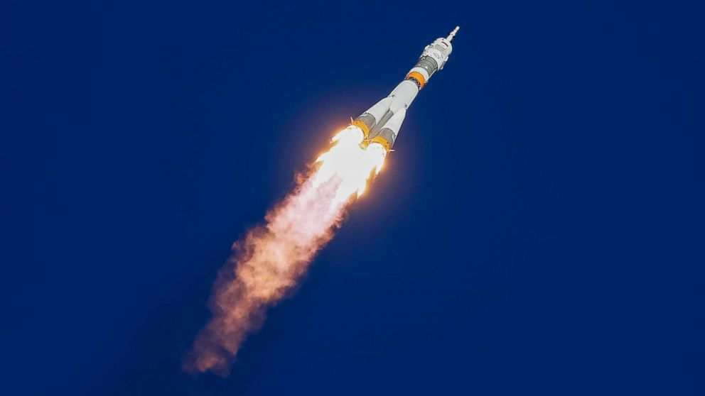 The Soyuz MS-10 spacecraft carrying the crew of American astronaut Nick Hague and Russian cosmonaut Alexey Ovchinin blasts off to the International Space Station (ISS) from the launchpad at the Baikonur Cosmodrome, Kazakhstan, Oct. 11, 2018. The spacecraft crash landed shortly after an aborted launch.