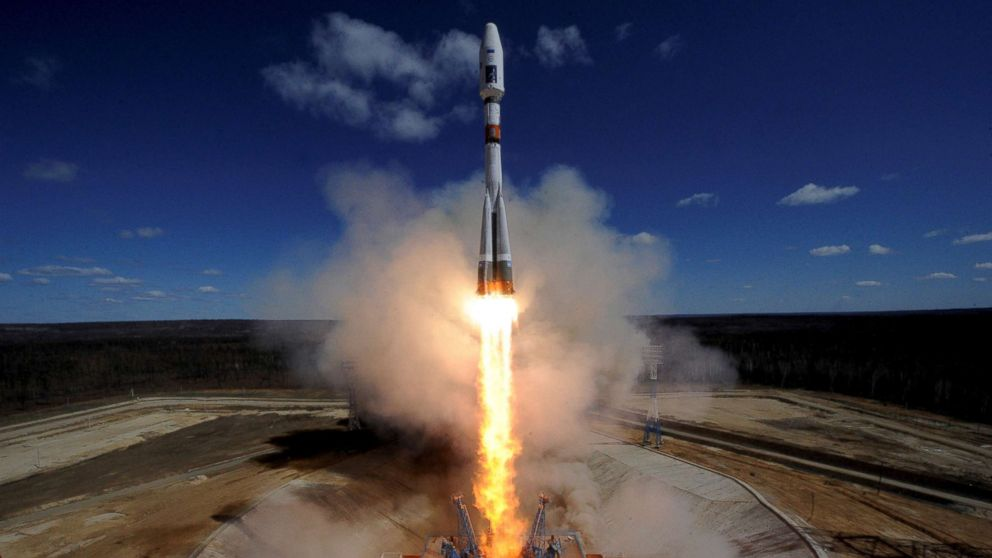 A Russian Soyuz 2.1A rocket carrying Lomonosov, Aist-2D and SamSat-218 satellites lifts off from the launch pad at the new Vostochny cosmodrome outside the city of Uglegorsk, in the far eastern Amur region, Russia on April 28, 2016.
