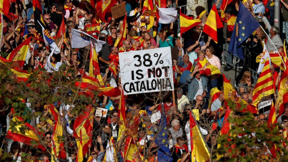 Pro-unity supporters take part in a demonstration in central Barcelona, Spain, Oct. 29, 2017.
