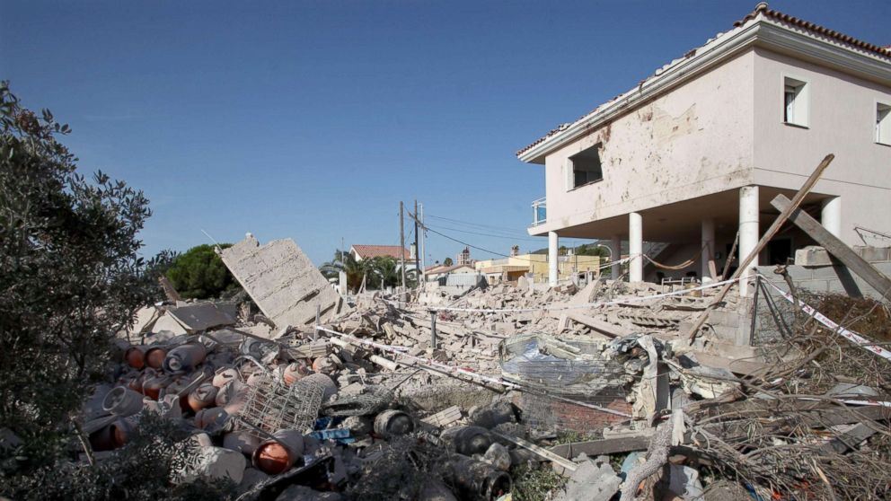 The debris of a house after it collapsed last night due to a gas leak explosion in the village of Alcanar, Catalonia, northeastern Spain, Aug. 17, 2017. Catalonian Police believe the explosion was connected to the attack in Barcelona.