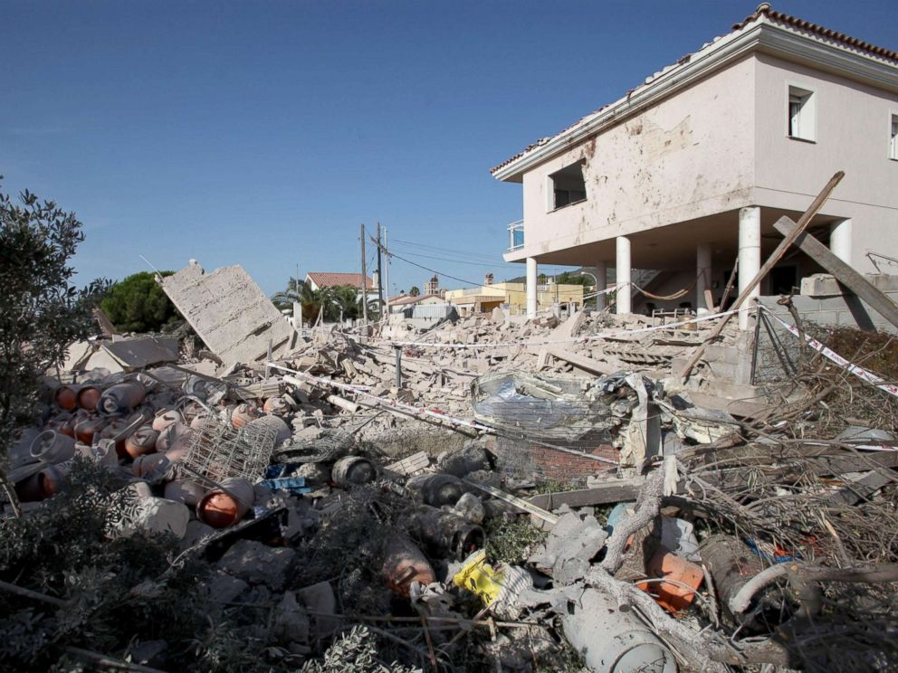 PHOTO: The debris of a house after it collapsed last night due to a gas leak explosion in the village of Alcanar, Catalonia, northeastern Spain, Aug. 17, 2017. Catalonian Police believe the explosion was connected to the attack in Barcelona.