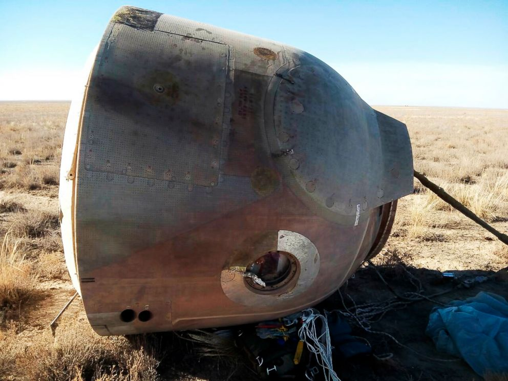 PHOTO: In this photo provided by Russian Defense Ministry Press Service, the Soyuz MS-10 space capsule lays in a field after an emergency landing near Dzhezkazgan, about 450 kilometers (280 miles) northeast of Baikonur, Kazakhstan, Oct. 11, 2018.