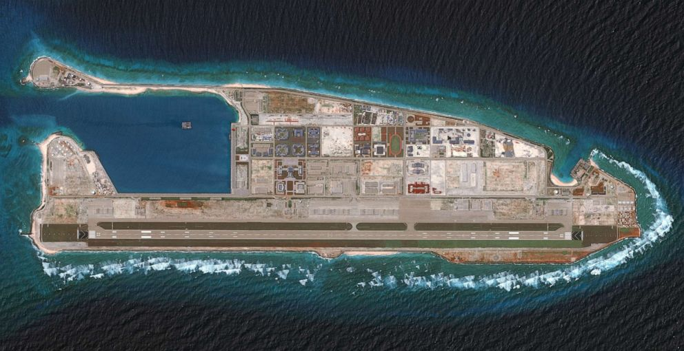 PHOTO: Fiery Cross Reef located in the western part of the Spratly Islands in the South China Sea, in an image from a satellite, Aug. 15, 2018.