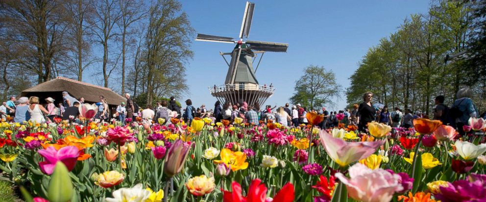 PHOTO: Tourists visit the Keukenhof spring garden in Lisse, west central Netherlands, April 20, 2018.