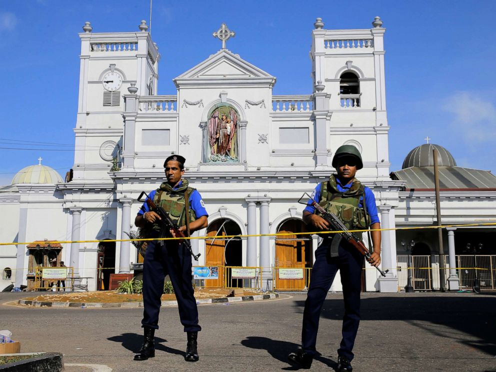PHOTO: Sri Lankan Navy soldiers stand guard in front of the St. Anthonys Shrine a day after the series of blasts, in Colombo, Sri Lanka, April 22, 2019.