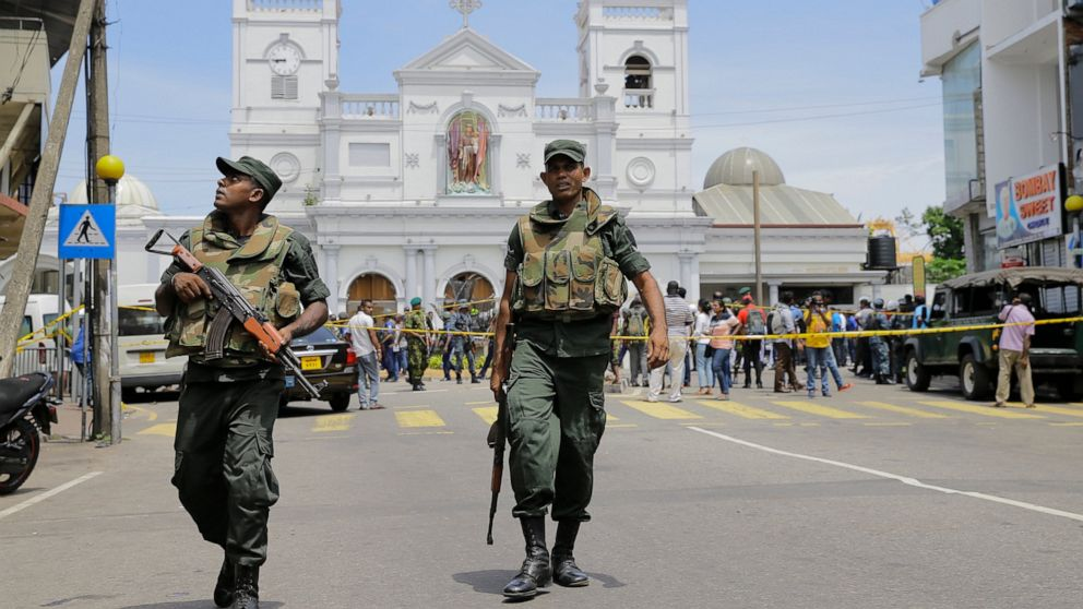 ri Lankan Army soldiers secure the area around St. Anthony's Shrine after a blast in Colombo, Sri Lanka, Sunday, April 21, 2019.