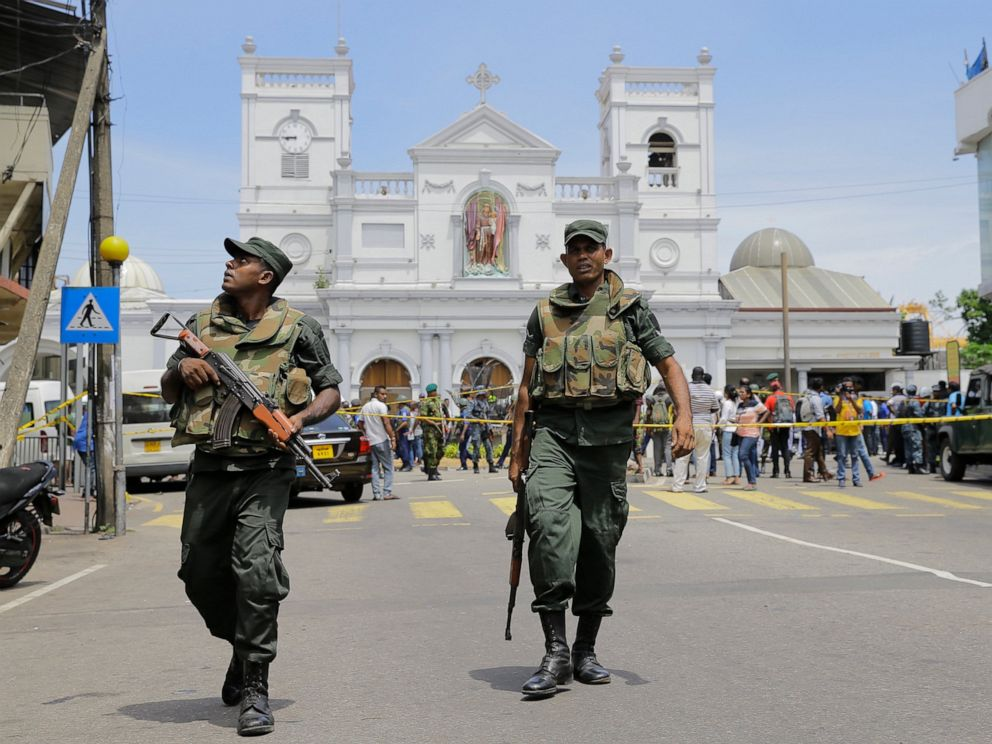 PHOTO: ri Lankan Army soldiers secure the area around St. Anthonys Shrine after a blast in Colombo, Sri Lanka, Sunday, April 21, 2019.