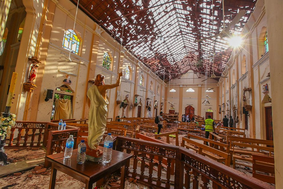 A view of St. Sebastian's Church damaged in blast in Negombo, north of Colombo, Sri Lanka, April 21, 2019.