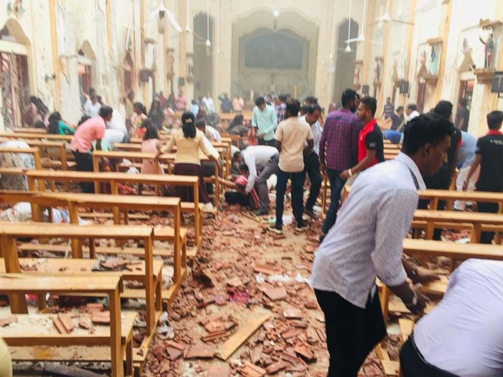 PHOTO: An explosion rocked St. Sebastians Church in Negombo, Sri Lanka, on Sunday, April 21, 2019.