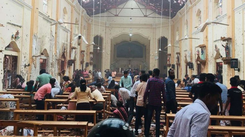 An explosion rocked St. Sebastian's Church in Negombo, Sri Lanka, on Sunday, April 21, 2019.