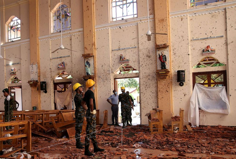 PHOTO: A view of the damage at St. Sebastian Catholic Church, after bomb blasts ripped through churches and luxury hotels on Easter, in Negombo, Sri Lanka April 22, 2019.