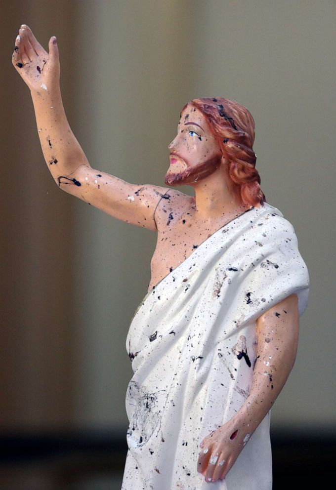 PHOTO: Blood stains are seen on a statue of Jesus Christ at St. Sebastian Catholic Church, after bomb blasts ripped through churches and luxury hotels on Easter, in Negambo, Sri Lanka, April 22, 2019.