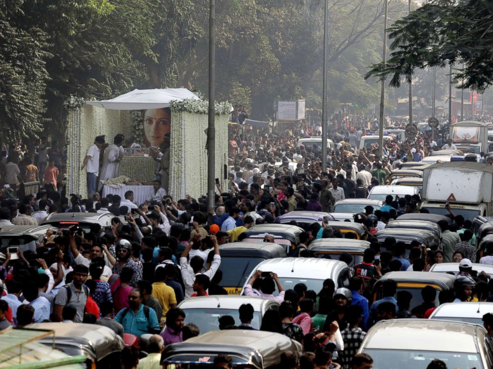 PHOTO: A general view of funeral procession of late Indian actress Sridevi Kapoor in Mumbai, India, Feb. 28, 2018.