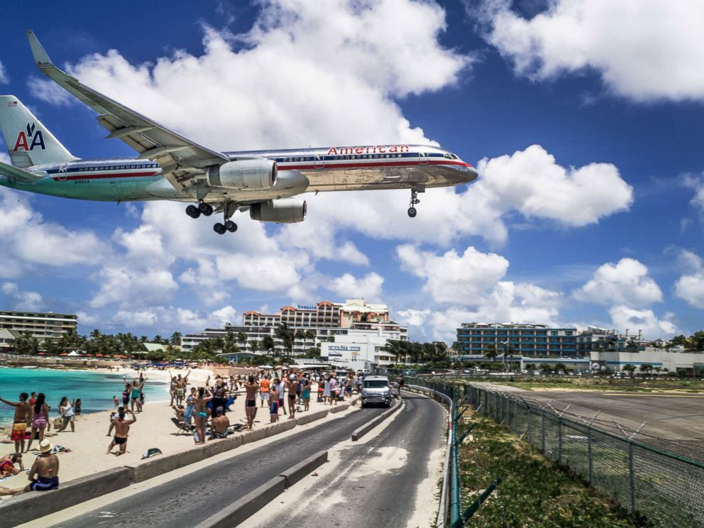 PHOTO: A commercial airline landing at the Princess Juliana International Airport in St Maarten.