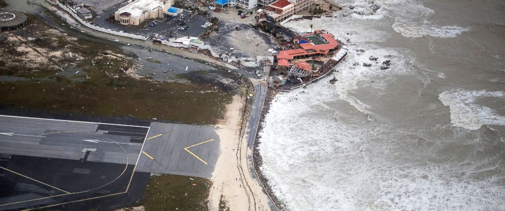PHOTO: An aerial photography taken and released by the Dutch Department of Defense, Sept. 6, 2017, shows the damage of Hurricane Irma on St Martin.