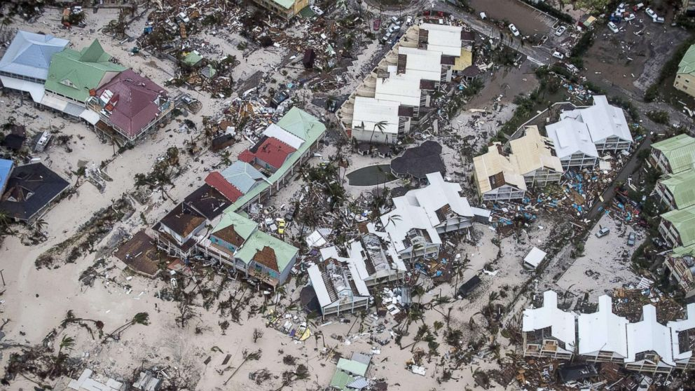 An aerial photography taken and released by the Dutch department of Defense, Sept. 6, 2017, shows the damage of Hurricane Irma in Philipsburg, on the Dutch Caribbean island of Sint Maarten.