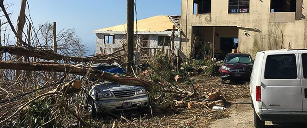 PHOTO: An image posted to the Facebook page of St. Thomas Reformed Church on Sept. 12, 2017 shows damaged trees and debris after the passage of Hurricane Irma on the Caribbean island island of St. Thomas.