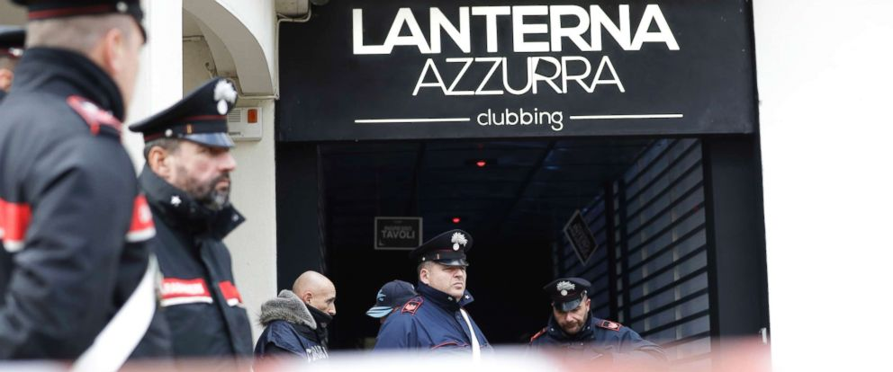 PHOTO: Carabinieri officers stand in front of the disco Lanterna Azzurra in Corinaldo, Italy, Dec. 8, 2018.