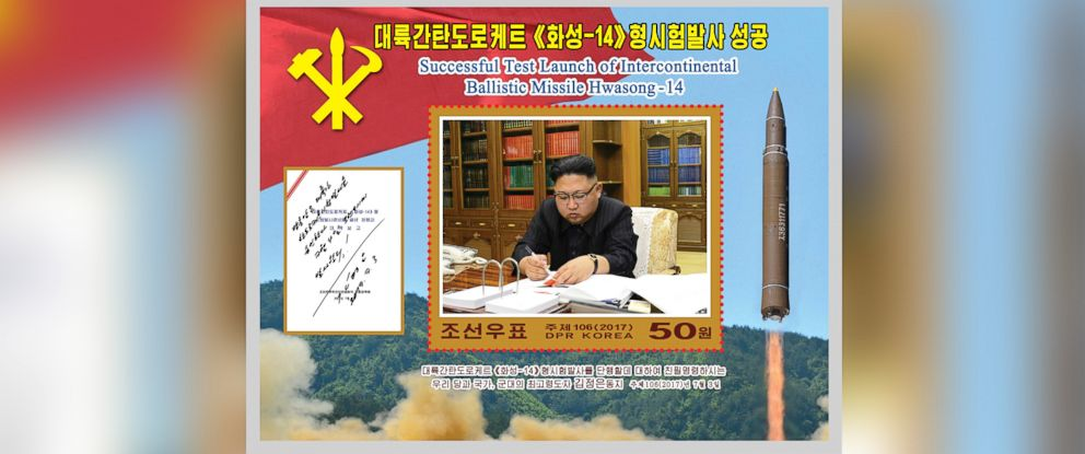 "PHOTO: A new stamp issued in commemoration of the successful test launch of the ""Hwasong-14"" intercontinental ballistic missile is seen in this undated photo released by North Koreas Korean Central News Agency in Pyongyang, Aug. 8, 2017."