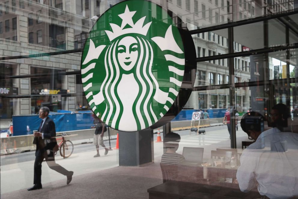 PHOTO: A sign hangs in the window of a Starbucks store on May 29, 2018 in Chicago.