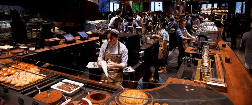 PHOTO: A view of the new Starbucks Reserve Roastery during a press conference in Shanghai, China, Dec. 5, 2017.