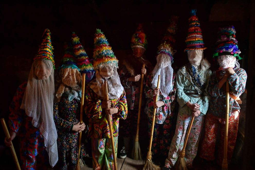 PHOTO: People prepare to takes part in ancient rural carnival in the small Pyrenees village of Lantz, northern Spain, March 3, 2019.